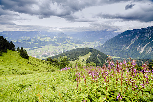 Germany, Bavaria, View of valley with alps - MJF000095
