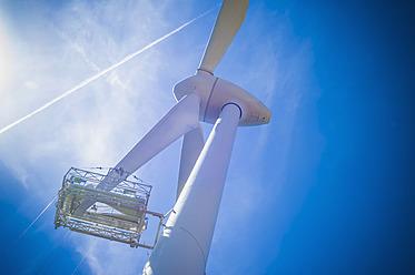 Germany, Saxony, View of wind turbine against sky - MJ000070
