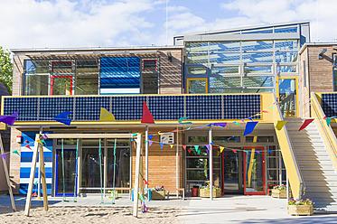 Germany, Mecklenburg Western Pomerania, Kindergarten with photovoltaics - MJ000101