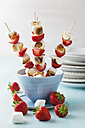 Marshmallow and strawberry skewers in bowl - ECF000050