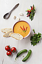 Bowl of gazpacho with bread, tomatoes, chillies and pickle on tray - ECF000095