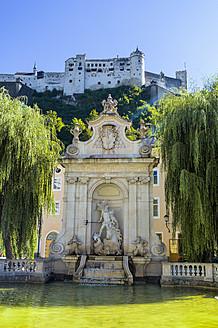 Austria, Salzburg, View of kapitelschwemme, Hohensalzburg fortress in background - EJWF000060