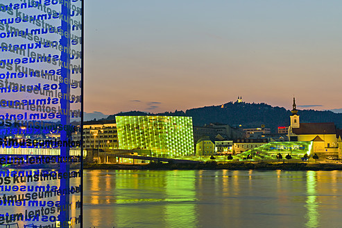 Austria, Linz, View of Ars Electronica Center and Postlingberg Church - EJW000073