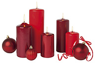 Candles and christmas decoration on white background, close up - WBF001622