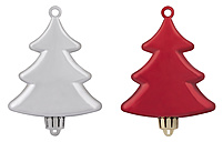 Christmas tree ornaments against white background, close up - WBF001639