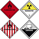 Danger signs on white background, close up - WBF001651