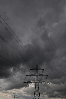 Germany, Bavaria, View of power pole with transmission line - AXF000240
