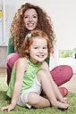 Germany, Berlin, Mother and daughter, smiling, portrait - RBF001015