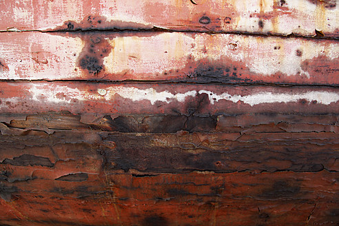 Spain, Close up of old paint on ship hull - JMF000240