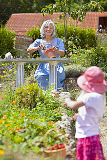 Germany, Bavaria, Girl picking starwberries in garden, mature woman in background - HSIYF000122