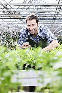 Germany, Bavaria, Munich, Mature man in greenhouse with rocket plants - RREF000010