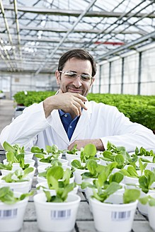Germany, Bavaria, Munich, Scientist in greenhouse with corn salad plants - RREF000055