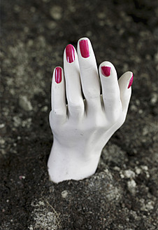 Human hand of mannequin in soil at cemetery - HSTF000025