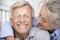 Spain, Senior couple smiling, close up - PDYF000160