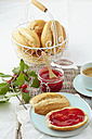 Cornel cherry jam with bread rolls and coffee on table - ECF000107