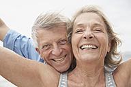 Spain, Senior couple smiling, portrait - PDYF000211