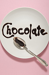 Text form with chocolate sauce on plate - MUF001231