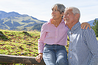 Germany, Bavaria, Senior couple on mountain hike near Wendelstein - TCF002985