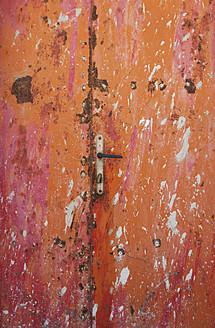 Croatia, Closed rusty door at Baska town - WWF002544