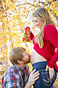 USA, Texas, Man kissing pregnant womans belly, close up - ABAF000518