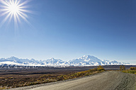USA, Alaska, View of park road and Mount Mckinley at Denali National Park - FOF004503