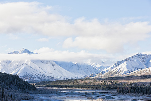 USA, Alaska, View of bridge over Teklanika River at Denali National Park - FOF004506