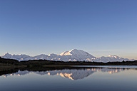 USA, Alaska, View of Mount Mckinley and reflection of pond at Denali National Park - FOF004548