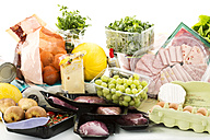 Various groceries on white background - MAEF005520