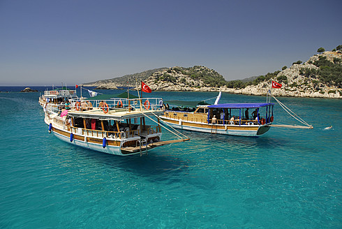 Turkey, Antalya, Excursion boats in Kekova bay - MIZ000060