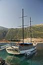 Turkey, Antalya, Sailing ship in bay at Cukurbag Peninsula - MIZ000075