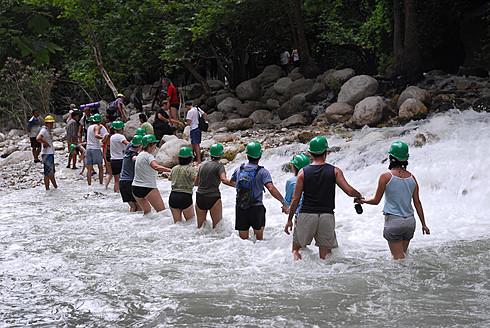 Turkey, Fethiye, Tourist making line in Esen Cayi River gorge at Saklikent Canyon Nature Park - MIZ000048