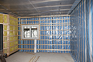 Europe, Germany, Rhineland Palatinate, Interior construction with thermal insulation - CSF016132