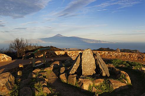 Spain, La Gomera,  Reconstruction of ritual place at peak of Alto de Garajonay - SIE003159