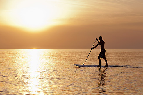 Germany, Schleswig Holstein, Man on stand up paddle board on Baltic sea - DBF000223