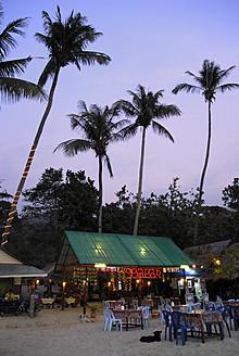 Thailand, Small bars and restaurants between palm trees on White Sand Beach at Mu Ko Chang National Park - MIZ000119