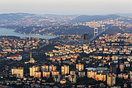 Europe, Turkey, Istanbul, View of financial district with Fatih Sultan Mehmet Bridge - SIE003207