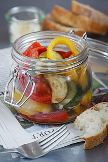 Fried zucchini pepper salad in glass jar - EVGF000026