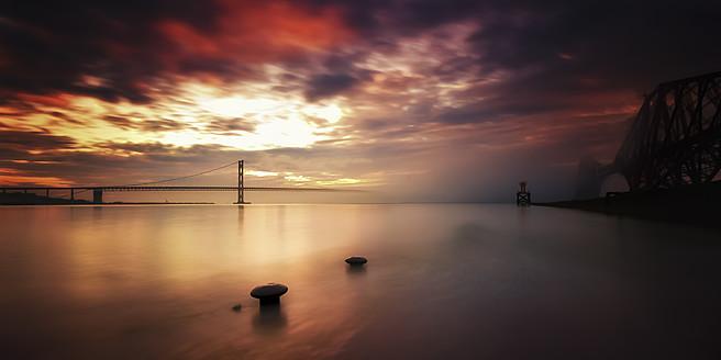 UK, Scotland, Edinburgh, View of bridge at sea - SMA000095