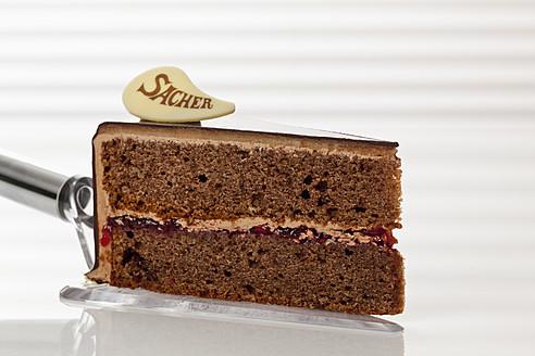 Slice of Sachertorte on cake server, close up - CSF016284