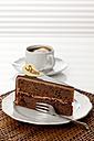 Plate of Sachertorte slice with coffee, close up - CSF016287