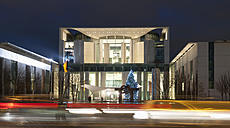 Germany, Berlin, View of chancellery with christmas tree at night - BFR000144