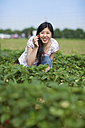 Germany, Bavaria, Young Japanese woman showing strawberry in field - FLF000201