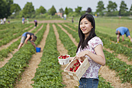 Germany, Bavaria, Young Japanese woman picking strawberries in field - FLF000219