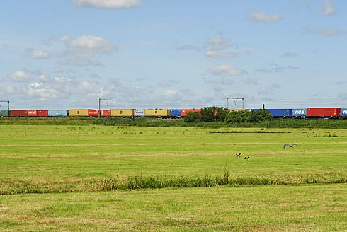 Netherlands, View of landscape at Gouda, Freight train in background - MIZ000170
