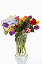 Variety of flowers in vase with birthday card on white background, close up - CSF016608