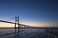 Portugal, Lisbon, View of Vasco da Gama bridge at River Tagus - FO004742