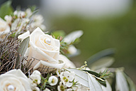 Germany, Wedding bouquet with white roses - NHF001357
