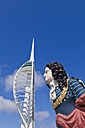 England, Hampshire, Portsmouth, View of Spinnaker Tower with Admiral Nelson - WD001465