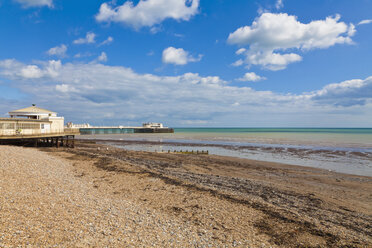 England, Sussex, View of beach at Worthing Pier - WDF001574