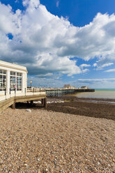 England, Sussex, View of beach at Worthing Pier - WDF001577
